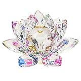 Sumnacon クリスタル 蓮の花 ガラス置物 縁起物 風水 サンキャッチャー 贈り物 10cm カラフル