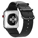 For Apple Watch バンド, Fintie 編みナイロン 時計バンド 交換ベルト アップルウォッチ交換ストラップ iWatch Apple Watch Series 44mm, Series 3 / Series 2 / Series 1 42mm 対応 (ブラック)