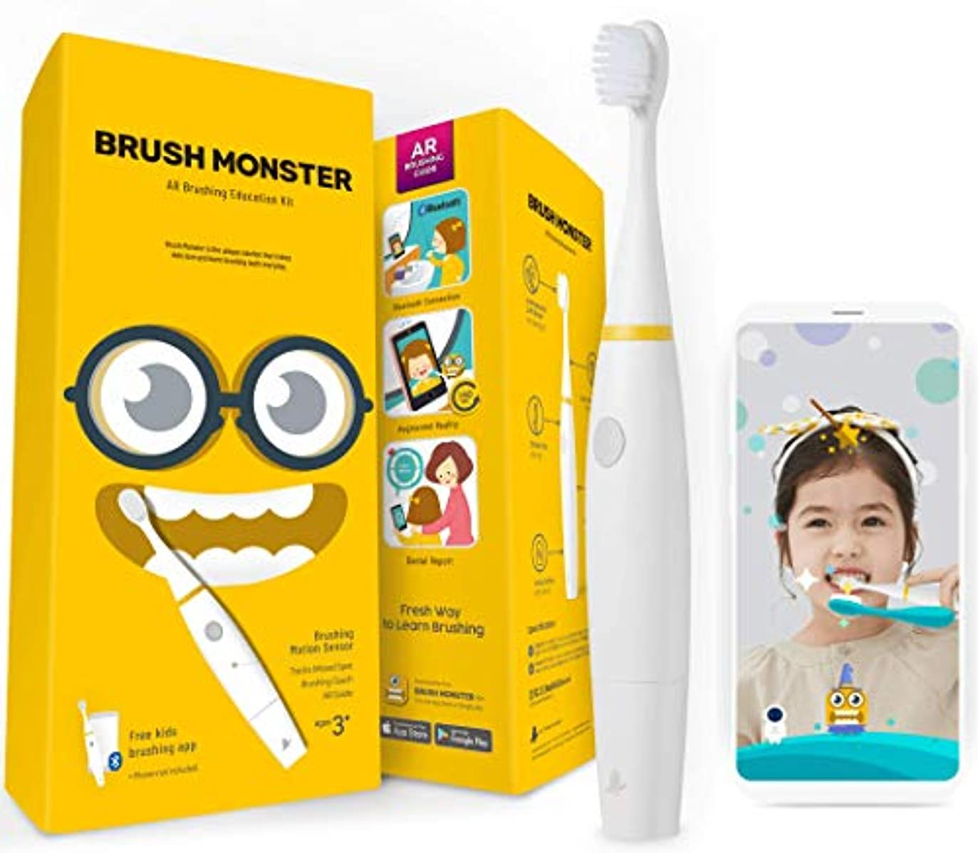 青写真機構ポスト印象派BRUSH MONSTER ブラッシュモンスターキッズ 子供用スマートトラッキング電動歯ブラシ AR(拡張現実)搭載 歯育アプリ連動 BMT100 (本体ホワイト)