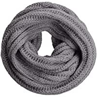 NEOSAN Women's Men Thick Winter Knitted Infinity Circle Loop Scarf ST Light Grey