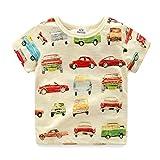 LittleSpring夏 ボーイズ 男の子 薄手 通気性 車プリント 半袖Tシャツ