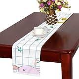 GGSXD テーブルランナー 親しい 白いうさぎ クロス 食卓カバー 麻綿製 欧米 おしゃれ 16 Inch X 72 Inch (40cm X 182cm) キッチン ダイニング ホーム デコレーション モダン リビング 洗える