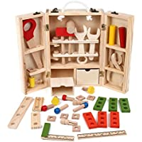 Sokaiwheel 木製 大工さん ごっこ遊びツールボックス 知育玩具 工具 カーペンター 収納 木のおもちゃ、贈答用の子供おもちゃに