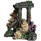 XiR Aquarium Decorations Ruins Roman Column with Coral Ornament for Fish Tank