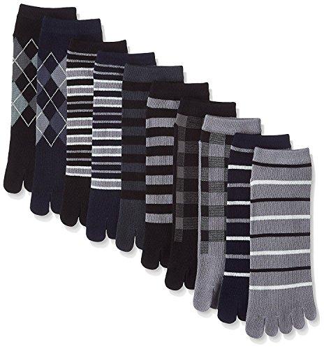 靴下 メンズ 5本指 ソックス / モノトーンカラーの10足セット かかと付きタイプ (25-27cm)