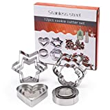 H&B LIFE Stainless Steel Cookie Pastry Dough Vegetable Cutter, Biscuit Presser,Small Cake Molds, Round Flower Heart Star Shape,12 Pcs Silver