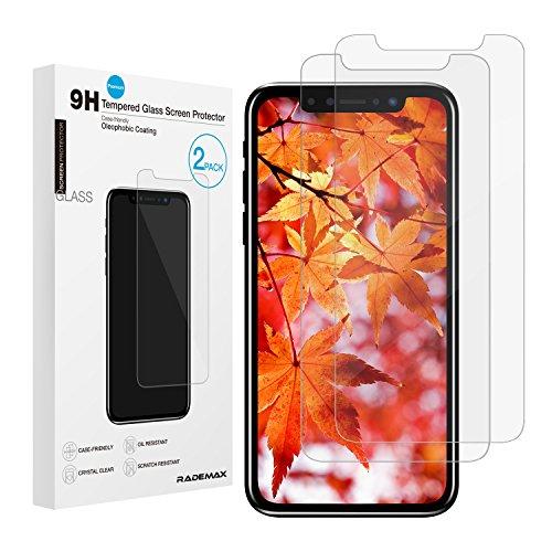 iPhone X ガラスフィルム 2枚入り Rademax 液晶保護フィルム 日本製旭硝子強化ガラス 飛散防止 アイフォンXフィルム 気泡ゼロ 硬度9H
