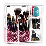 HBLIFE コスメ収納 ボックス 化粧ブラシ アクリル コスメスタンド メイクケース 化粧品収納ボックス 化粧ボックス 綿棒など収納 大容量 パール入れ 透明 アクリルケース