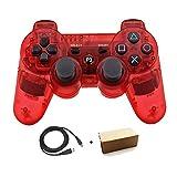 Bowink PS3用 ワイヤレスコントローラー 互換 USB ケーブル付属 (透明赤)