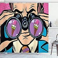 Amxxy コミック装飾シャワーカーテンビジネスマンはアイスクリームポップアートレトロなスタイルの模倣ユーモア漫画イラスト生地浴室の装飾耐久性のある掃除が簡単