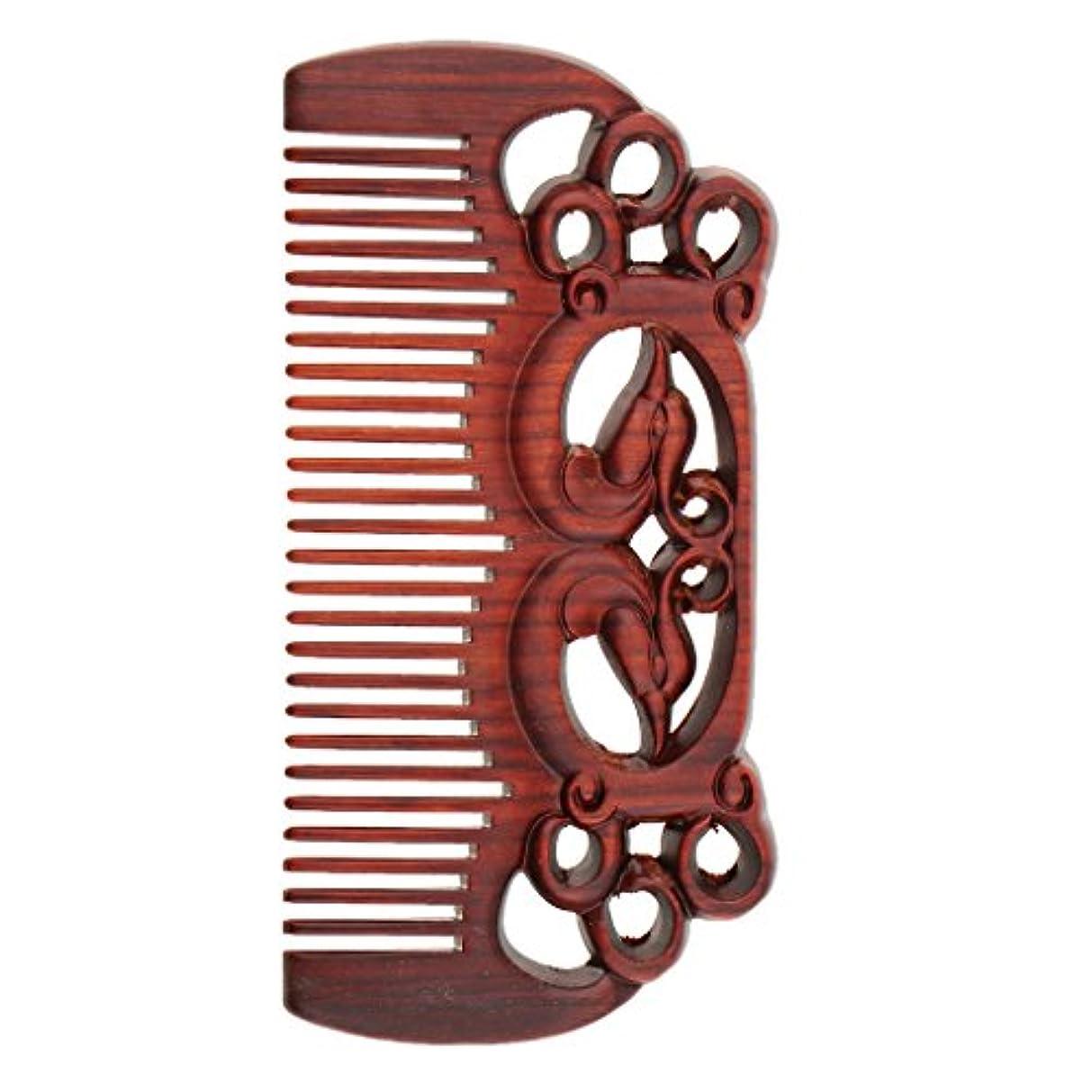 ロードされた誤って連続的Perfeclan ウッドコーム 天然木製 高品質 木製櫛 ワイド歯 ヘアブラシ ヘアスタイリング ヘアコーム 2タイプ選べる - #1