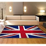 Carpet Modern Traditional Living Room Rug British flag 7MM thickness Short straight pile Carpet for Bedroom Dining Room Floor 120x180CM (Size : 120x180CM)