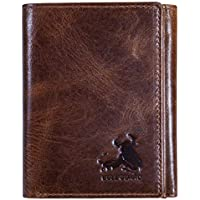 Bull Armour Mens Wallet RFID Blocking Napa Genuine Leather With Secret Pocket