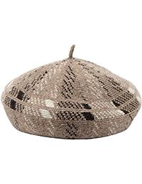 カラーパターンニット画家キャップ/レディースファッション八角形キャップ/ビンテージパンプキン帽子
