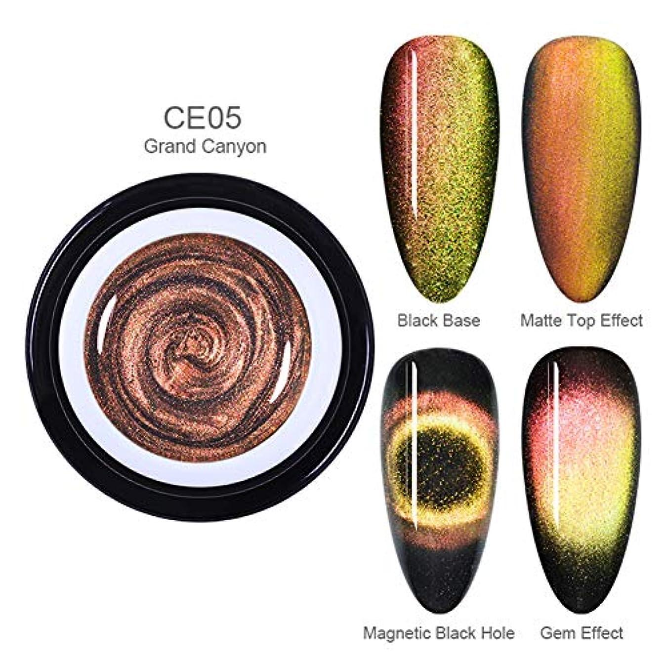 コメンテータービジネス流体BORN PRETTY 9Dキャッツアイジェルカラー 磁石で模様が変わる 6ml 6色選択可 UV/LED対応 ジェルネイルアート (BP-CE05 Grand Canyon)