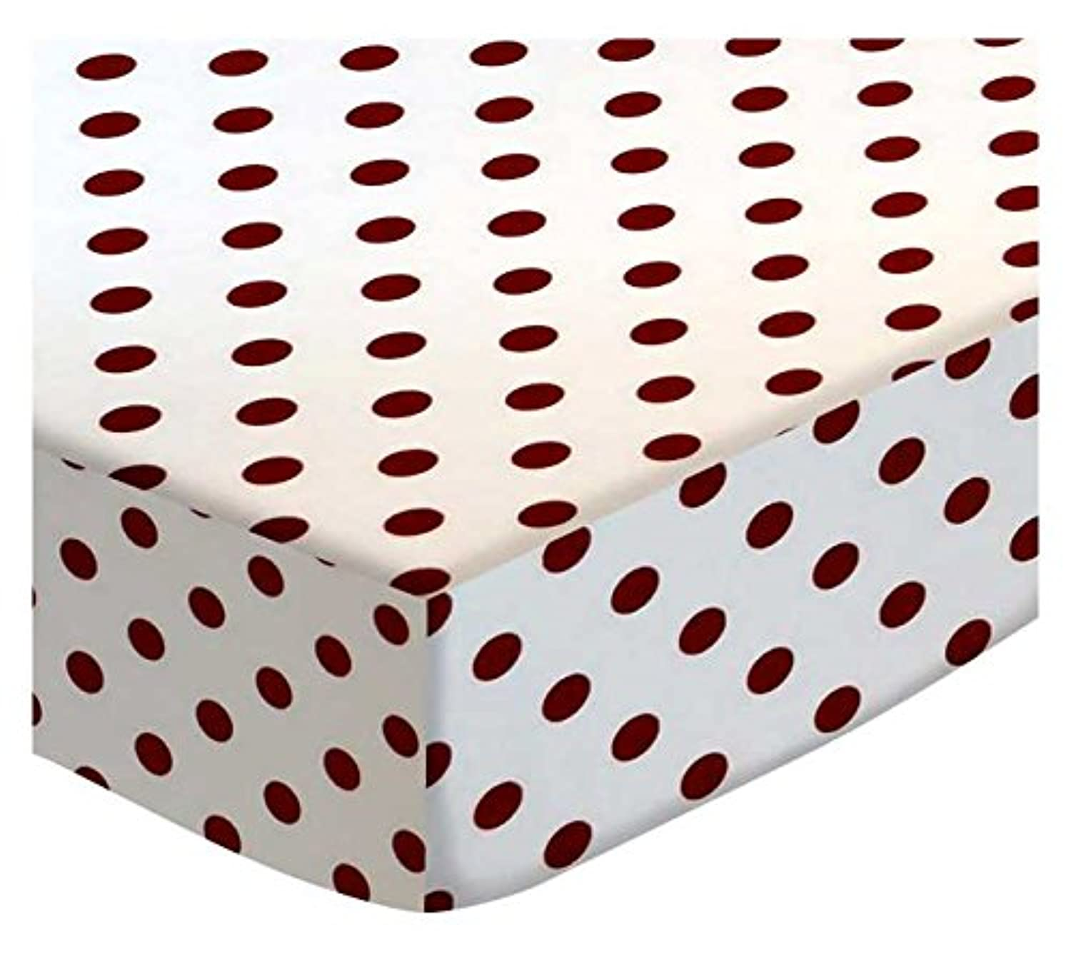 SheetWorld Extra Deep Fitted Portable / Mini Crib Sheet - Burgundy Polka Dots - Made In USA by sheetworld