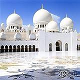 laeaccoビニールシンバックドロップ8x 8ft写真背景Abu Dhabi Masjid UAEアラブ首長国連邦ホワイト建物景色大人肖像画背景ビデオフォトスタジオ小道具2.5( W ) x2.5( H ) M