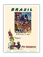 ブラジル - リオのカーニバル - パンアメリカン航空 - ビンテージな航空会社のポスター によって作成された ウィリアム・リンジー・プレスコット c.1960 - アートポスター - 23cm x 31cm