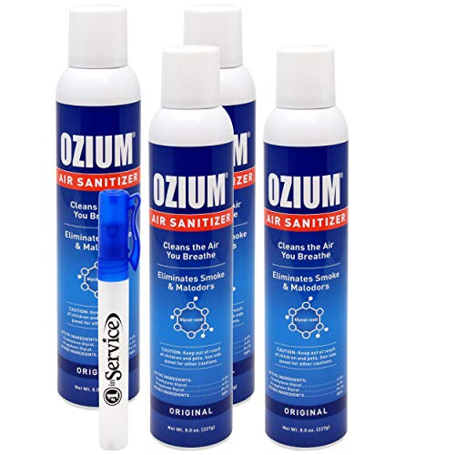 Ozium Air Sanitizer 空気中のバクテリアを減少 煙や悪臭を除去 8オンス スプレーエアフレッシュナー オリジナル(4パック) ハンドサニタイザー付き