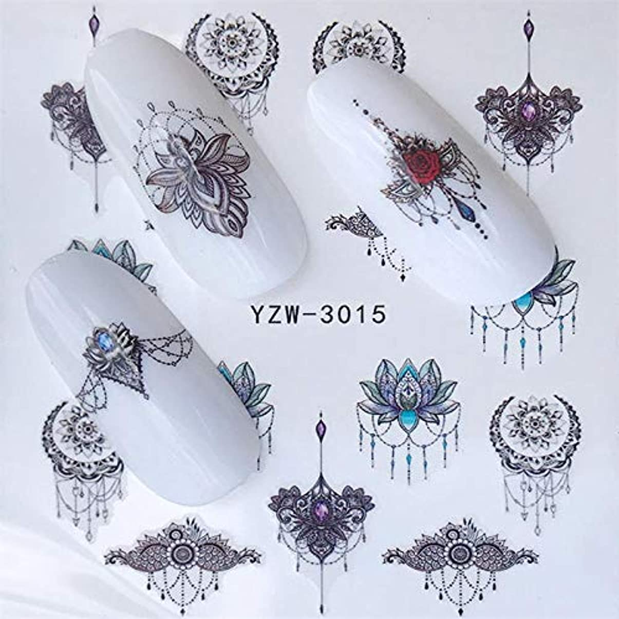あたり依存太いSUKTI&XIAO ネイルステッカー ネイルアートウォーターマークタトゥーデコレーションネイルステッカー水転写デカール装飾、Yzw-3015用1個の花つるシリーズ