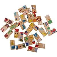 SONONIA 楽しいおもちゃ 画像 合わせて ドミノセット 28個セット 木製 パズル