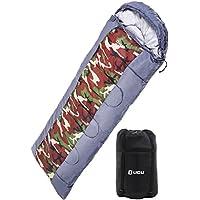 LICLI 寝袋 冬用 コンパクト 軽量 封筒型 シュラフ 1.8kg フード付き 220cm 収納袋付き 8カラー 最低使用温度 -10度 (ブルー)