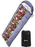 LICLI 寝袋 極暖 -10度 コンパクト 軽量 封筒型 シュラフ 1.8kg フード付き 220cm 収納袋付き 8カラー 最低使用温度 -10度 (迷彩)