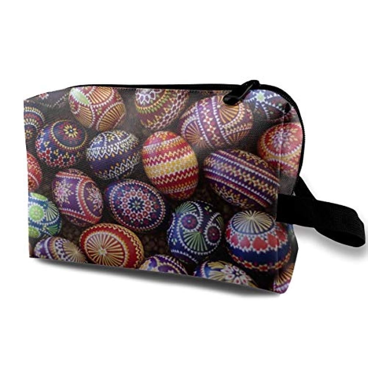 メタン海外で銀Germany Easter Eggs 収納ポーチ 化粧ポーチ 大容量 軽量 耐久性 ハンドル付持ち運び便利。入れ 自宅・出張・旅行・アウトドア撮影などに対応。メンズ レディース トラベルグッズ