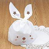 私の家族 50 pcs イースターかわいいウサギ スタイルのプラスチック製の菓子袋クッキー袋
