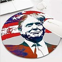 ドナルド・トランプ大統領アメリカ国旗マウスパッドマウスマット コンピューター用 丸型 面 面白い 滑り止め ゴム素材 (8インチ)