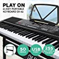 ALPHA 61 Keys Electronic Piano Keyboard Portable Digital Keybaord with 255 Tones Rhythms 50 Demos LCD Electric Holder Music Stand Adaptor Power
