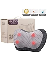 Masgo Shiatsu Back & Neck Massager - Kneading Massage Pillow with Heat for Shoulders, Full Body Massage for Office...