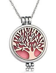 The Tree Of Life ,光FragranceネックレスEssential Oil Diffuser with 6フェルトパッド