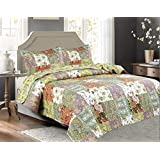 Legacy Decor 3 PCS Paisley Stitched Pinsonic Reversible Lightweight All Season Bedspread Quilt Coverlet Oversize, King Size