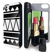 iPhone8 iPhone7 iPhone6 iPhone6s ケース ミラー 付き トライバル柄 ネイティブ柄 モノトーン カードケース ネイティブ お洒落 アイフォン8 アイフォン7 アイフォン6 アイフォン6s カバー オルテガ柄 鏡付き iPhoneケース