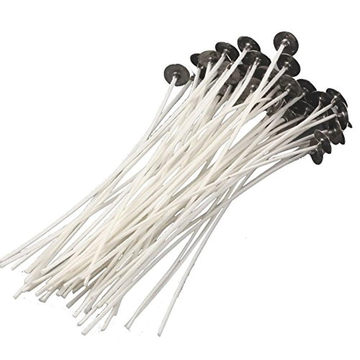 熟達した援助大量ADEA キャンドル用芯 ろうそくの芯 ソイワックス加工 ソイワックス 座金付き 綿100% (15cm, 50本)