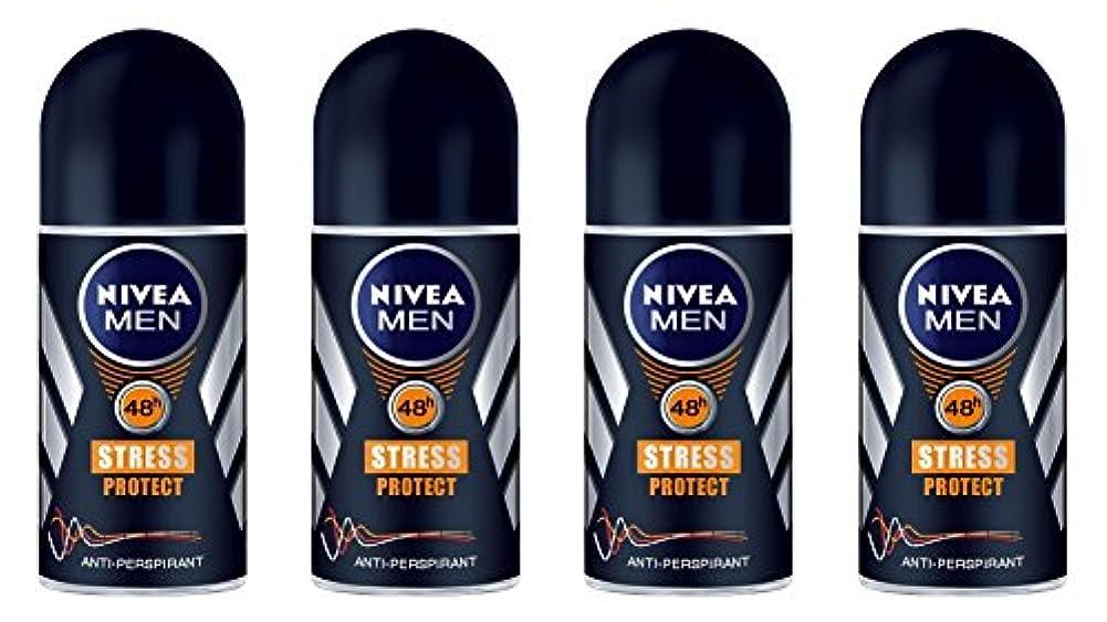 キャラバン雑多なヘルメット(Pack of 4) Nivea Stress Protect Anti-perspirant Deodorant Roll On for Men 4x50ml - (4パック) ニベア応力プロテクト制汗剤デオドラントロールオン...