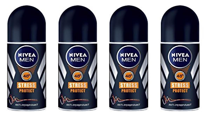 まばたき側排出(Pack of 4) Nivea Stress Protect Anti-perspirant Deodorant Roll On for Men 4x50ml - (4パック) ニベア応力プロテクト制汗剤デオドラントロールオン...