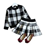 (ミニアウル)Miniowl チェック 長袖 ニットセーター スカート 上下セット 子供 女の子 ブラック 90