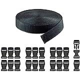 RETON Black Nylon Webbing Strap + Adjustable Buckles Plastic Side Release Buckles