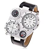 R-STYLE アンティーク メカニカルデザイン腕時計 コンパス 温度計機能付 (ホワイト)