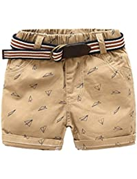 LittleSpring キッズ ショートパンツ 男の子 ベルト付き ショーツ チノパン 膝上丈 ズボン 短パン プリント