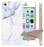 A-Focus iPhone SE ケース 大理石 マーブル柄 ソフト TPU ケース 軽量  透明コーティング工芸 光沢あり 耐久性が高い iPhoneSE iPhone5S iPhone5 用 (白い灰色石紋)