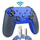 Switch コントローラー ワイヤレス 無線コントローラー ジャイロセンサー・モーター振動・連射機能搭載 nintendo switch games対応 受信距離8m 方向キー+滑り止めのグリップ付き【2mケーブル付き】