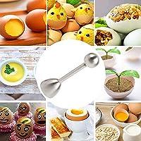 Rlihana シルバーエッグシェルトッパー ステンレススチール エッグオープナーカッター エッグクラッカーセパレーター 生卵ソフトまたはハード沸騰卵の除去用
