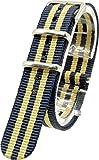 [2PiS] ベルト交換簡単 NATO 腕時計 時計 ナイロン 替えバンド 替えベルト 交換マニュアル付 ( ダブルネイビー・ベージュ・センターネイビー : 18mm ) 51-1-18