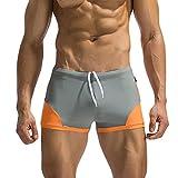 メンズ スーツ パンツ elogoog 2018新しいホットセールメンズSwim TrunksパンツBathing Suit Elastic Surf ShortsスリムWear withファスナーポケット L グレー