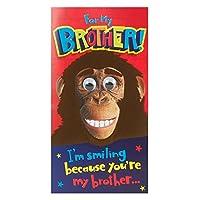 ホールマーク誕生日Brother Humour FeltedデザインGoogly Eyesカード–Mediumスリム