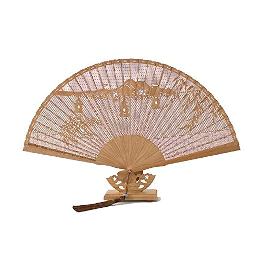 戻す最初にベアリングサークルQIANZICAI 扇子、古典的な竹のカービングファン、家庭用アクセサリー、ダンスの小道具、サイズ23CM。 滑らかな感触 (Color : Brown- C)
