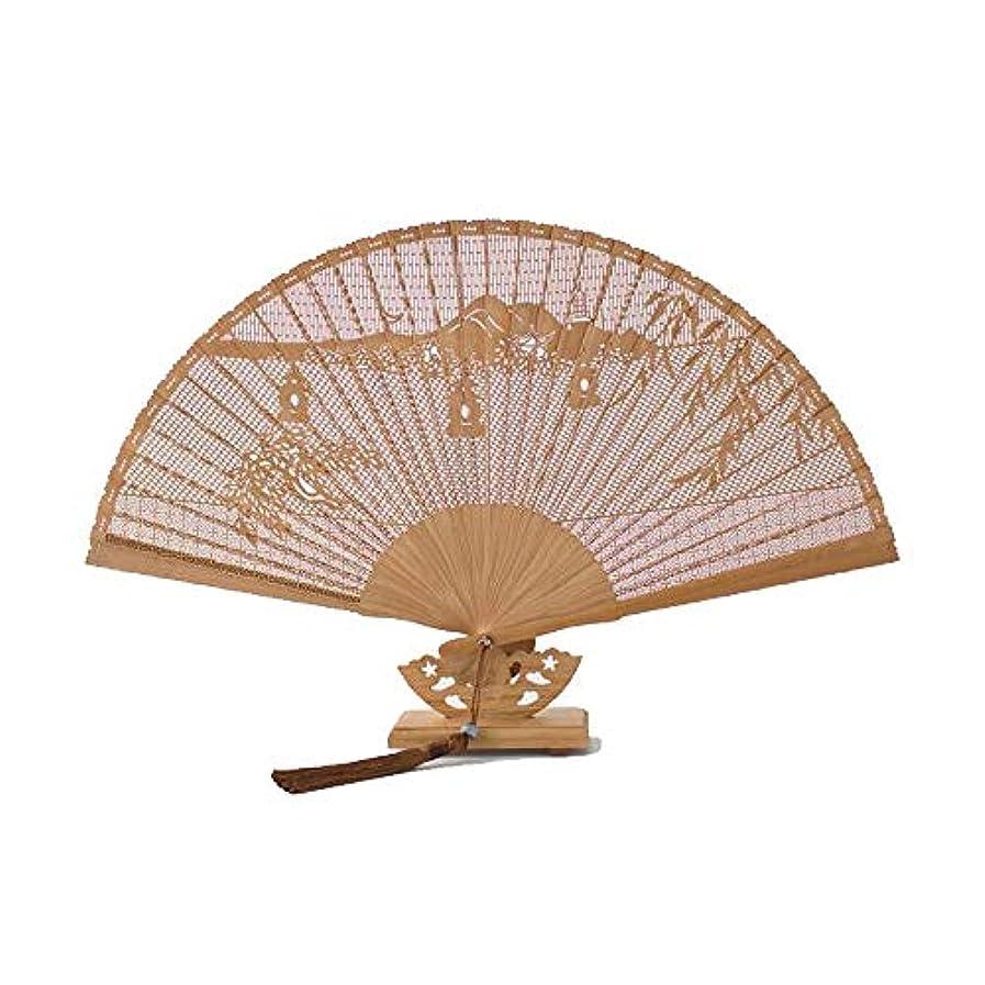 食料品店曲トロピカルQIANZICAI 扇子、古典的な竹のカービングファン、家庭用アクセサリー、ダンスの小道具、サイズ23CM。 滑らかな感触 (Color : Brown- C)